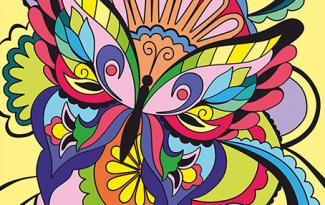 Картина по номерам на холсте с подрамником 20х15 см. «Разноцветная бабочка»