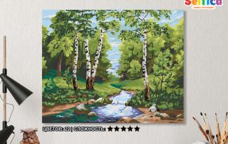 Картина по номерам на холсте с подрамником 50х40 см. «Лесной ручей»