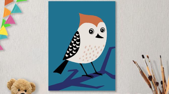 Картина по номерам на холсте с подрамником 20х15 см. «Птичка»