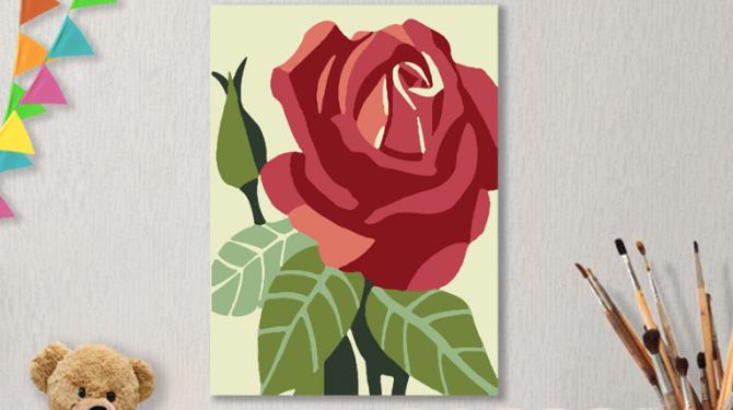 Картина по номерам на холсте с подрамником 20х15 см. «Роза»