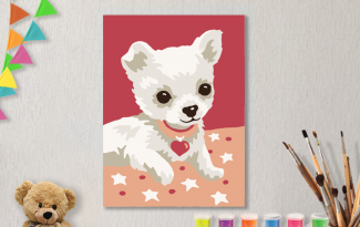 Картина по номерам на холсте с подрамником 20х15 см. «Собачка»