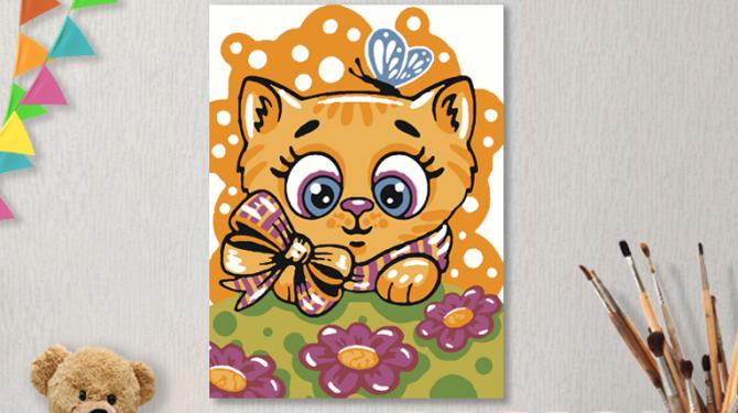 Картины по номерам на холсте 20х15см «Киса с бабочкой».