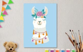 Картины по номерам на холсте 20х15см «Красотка Лама».