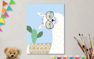 Картины по номерам на холсте 20х15см «Лама и кактус».