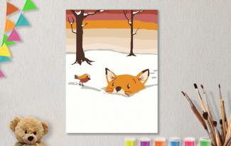 Картины по номерам на холсте 20х15см «Лисенок в снегу».