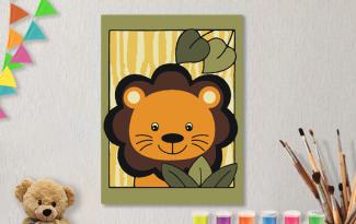 Картины по номерам на холсте 20х15см «Львенок».