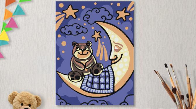 Картины по номерам на холсте 20х15см «Мишкины сны».