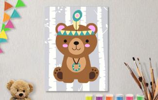 Картины по номерам на холсте 20х15см «Могучий медвежонок».