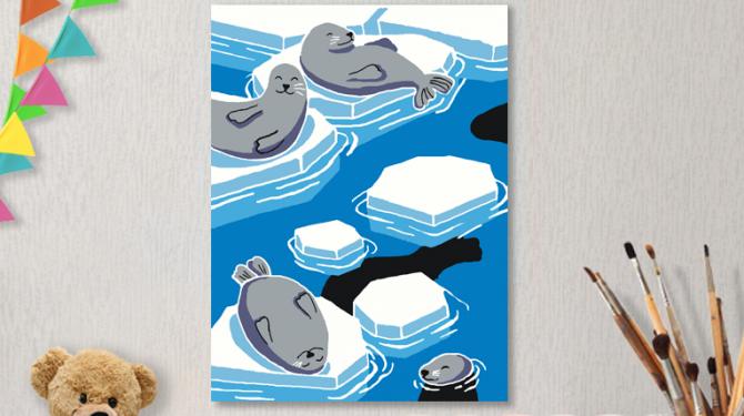 Картины по номерам на холсте 20х15см «На льдине».