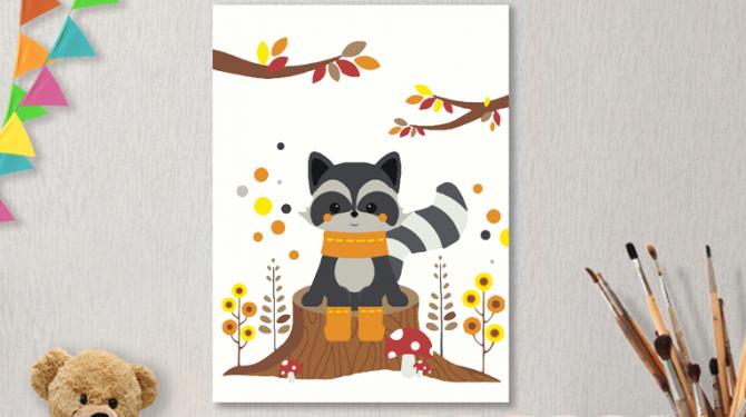Картины по номерам на холсте 20х15см «Осенний енотик».