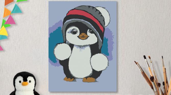 Картины по номерам на холсте 20х15см «Пингвиненок».
