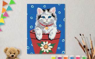 Картины по номерам на холсте 20х15см «Пушистый цветочек».