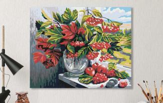 Картина по номерам на холсте 50х40 см. «Калина красная»