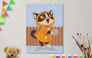 Картины по номерам на холсте 20х15см «Дождик». TM Selfica