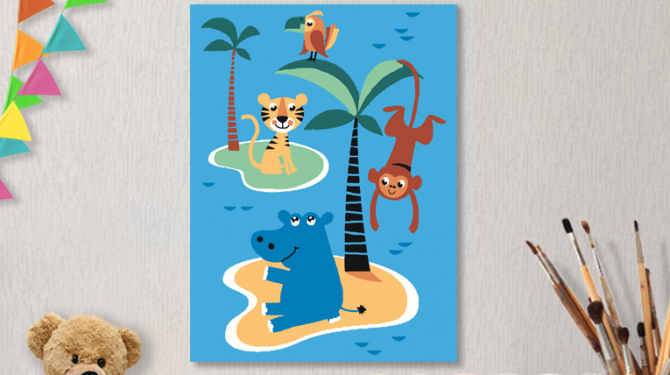 Картины по номерам на холсте 20х15см «На островах». TM Selfica