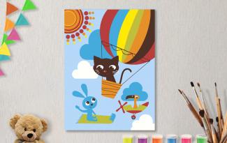 Картины по номерам на холсте 20х15см «Полет на шаре». TM Selfica