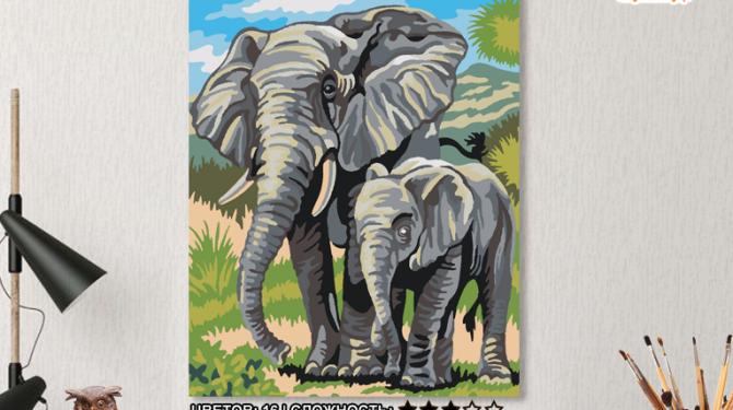 Картина по номерам на холсте 50х40 см. «Слоны» 0