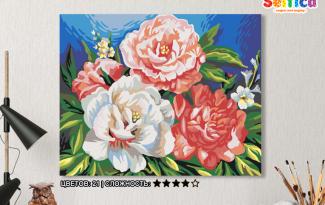 Картина по номерам на холсте 50х40 см. «Три пиона»