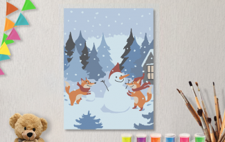 Картины по номерам на холсте 20х15см «Зимние забавы». TM Selfica