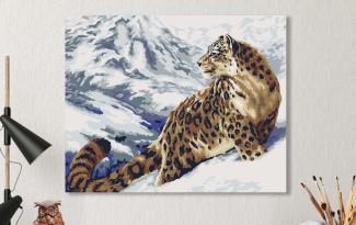 Картина по номерам на холсте 50х40 см. «Снежный барс». TM Selfica