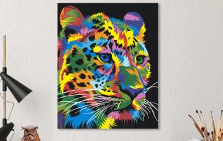 Картина по номерам на холсте 50х40 см. «Радужный леопард». TM Selfica