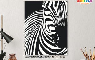 Картина по номерам на холсте 50х40 см. «Зебра». TM Selfica