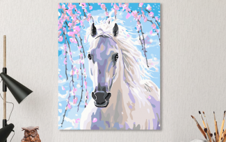 Картина по номерам на холсте 50х40 см. «Белая лошадь». TM Selfica