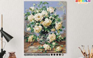 Картина по номерам на холсте 50х40 см. «Белые розы». TM Selfica