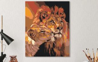 Картина по номерам на холсте 50х40 см. «Львиная нежность». TM Selfica