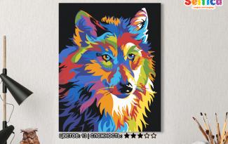 Картина по номерам на холсте 50х40 см. «Радужный волк». TM Selfica