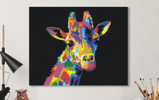 Картина по номерам на холсте 50х40 см. «Радужный жираф». TM Selfica