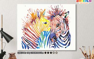 Картина по номерам на холсте 50х40 см. «Цветные зебры». TM Selfica