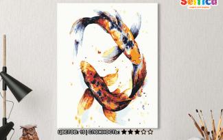 Картина по номерам на холсте 50х40 см. «Японские карпы». TM Selfica