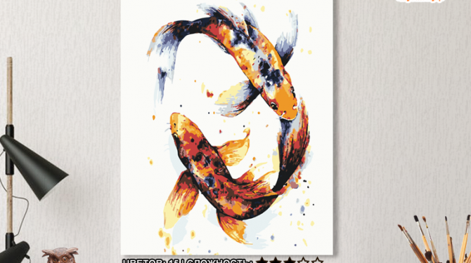 Картина по номерам на холсте 50х40 см. «Японские карпы». TM Selfica 0
