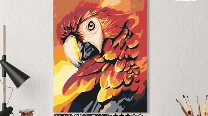 Картина по номерам на холсте 50х40 см. «Красный попугай». TM Selfica 0