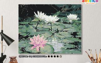 Картина по номерам на холсте 50х40 см. «Кувшинки на пруду». TM Selfica