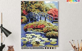 Картина по номерам на холсте 50х40 см. «Мост в саду». TM Selfica