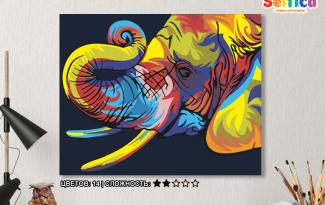 Картина по номерам на холсте 50х40 см. «Радужный слон». TM Selfica