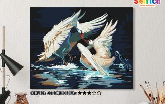 Картина по номерам на холсте 50х40 см. «Танец лебедей». TM Selfica