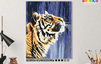 Картина по номерам на холсте 50х40 см. «Тигр под дождём». TM Selfica