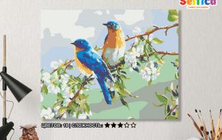 Картина по номерам на холсте 50х40 см. «Весенние птахи». TM Selfica