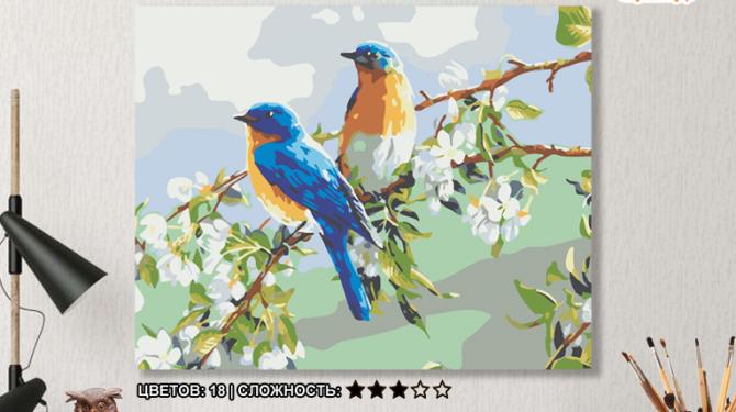 Картина по номерам на холсте 50х40 см. «Весенние птахи». TM Selfica 0