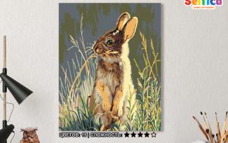 Картина по номерам на холсте 50х40 см. «Заяц». TM Selfica