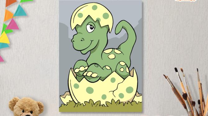 КАРТИНЫ ПО НОМЕРАМ НА ХОЛСТЕ 20Х15СМ «Динозаврик». TM SELFICA
