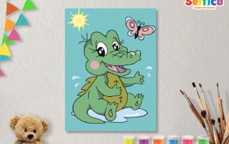 КАРТИНЫ ПО НОМЕРАМ НА ХОЛСТЕ 20Х15СМ «Крокодильчик». TM SELFICA
